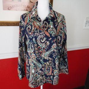 Chico's Paisley No Iron Button Down Shirt 3 XL 16
